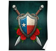 Texas Flag on a Worn Shield and Crossed Swords Poster