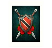 Trinidadian Flag on a Worn Shield and Crossed Swords Art Print