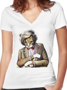 Catt Matt Smith posed as Dos Equis Interesting Man Women's Fitted V-Neck T-Shirt