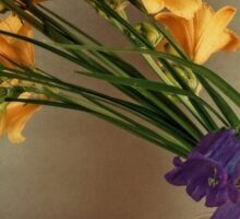 still life of yellow lilies and purple buds Sticker