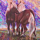 Horses on hill by Dan Wilcox