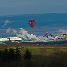 Balloon over Smoke in industrial rural scene by Crispel