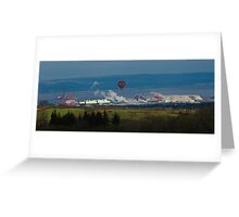 Balloon over Smoke in industrial rural scene Greeting Card