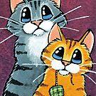 Cheeky Tabby Cats with Toy Mouse by Lisa Marie Robinson