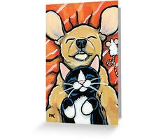 Just Chillin' - Relaxing Pup & Kitten Greeting Card