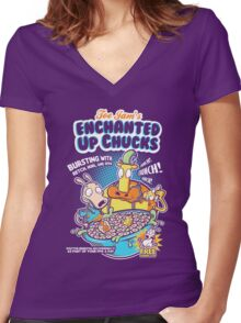 Enchanted Up Chucks Women's Fitted V-Neck T-Shirt