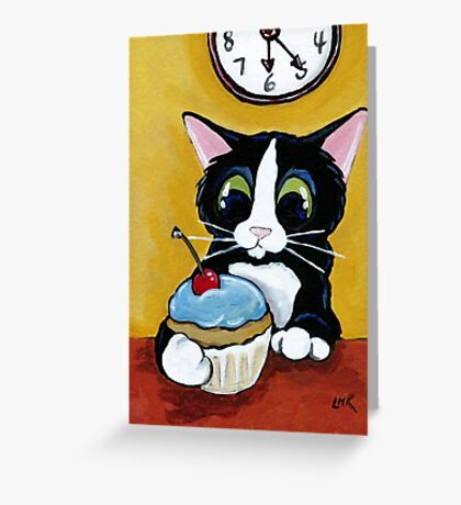 Tuxedo Cat with Cherry Cupcake Greeting Card