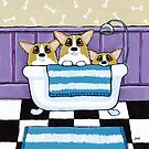 Corgi Bath Time by Lisa Marie Robinson