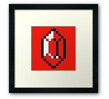Red Pixel Rupee - The Legend of Zelda Framed Print