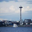 Seattle ~ Space Needle and the Sail Boat by Marjorie Wallace