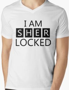 i am sher locked Mens V-Neck T-Shirt