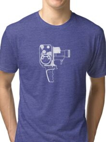 8mm Camera - Bolex - White Line Art Tri-blend T-Shirt