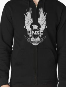 UNSC LOGO HALO 4 - GRUNT DISTRESSED LOOK Zipped Hoodie