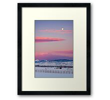 Colorado Winter Moon and Sunrise Framed Print