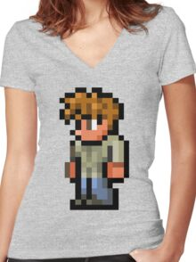 Terraria the guide Women's Fitted V-Neck T-Shirt