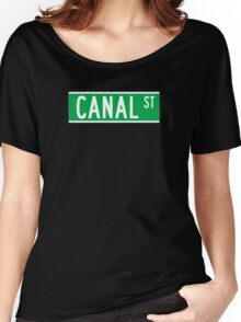 Canal St., New York Street Sign, USA Women's Relaxed Fit T-Shirt