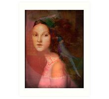 Girl with parrot Art Print