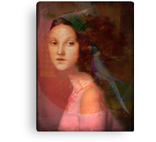 Girl with parrot Canvas Print