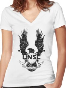UNSC LOGO HALO 4 - GRUNT DISTRESSED LOOK Women's Fitted V-Neck T-Shirt