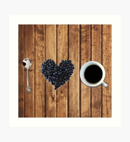I love coffee on wood Art Print