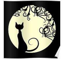 Black cat in the moon Poster