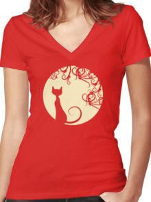 Black cat in the moon Women's Fitted V-Neck T-Shirt