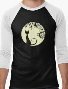 Black cat in the moon Men's Baseball ¾ T-Shirt