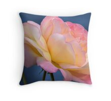rose on blue Throw Pillow