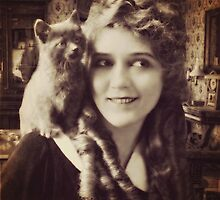 Mary Pickford - Vintage Lady with kitten - Vintage Selfie by augustinet
