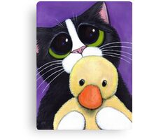 Scared Tuxedo Cat with Toy Duck Canvas Print