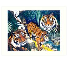 Tigers in the forest Art Print