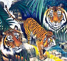 Tigers in the forest by Yvonne Gartside