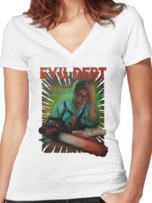 Evil Debt  Women's Fitted V-Neck T-Shirt