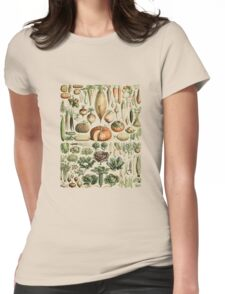 Autumn Fall Vegetables Vegetarian Vegan Thanksgiving Dictionary Organic Art Vintage Cottage Chic Womens Fitted T-Shirt