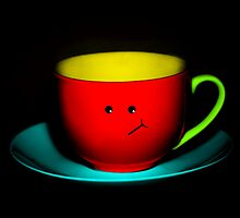 Funny Wall Art - Bashful Colourful Teacup by Natalie Kinnear