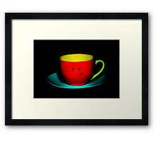Funny Wall Art - Bashful Colourful Teacup Framed Print