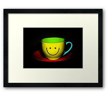 Funny Wall Art - Smiley Colourful Teacup Framed Print