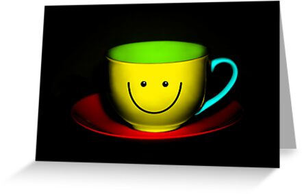 Funny Wall Art - Smiley Colourful Teacup by Natalie Kinnear