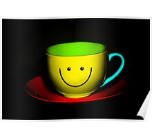 Funny Wall Art - Smiley Colourful Teacup Poster