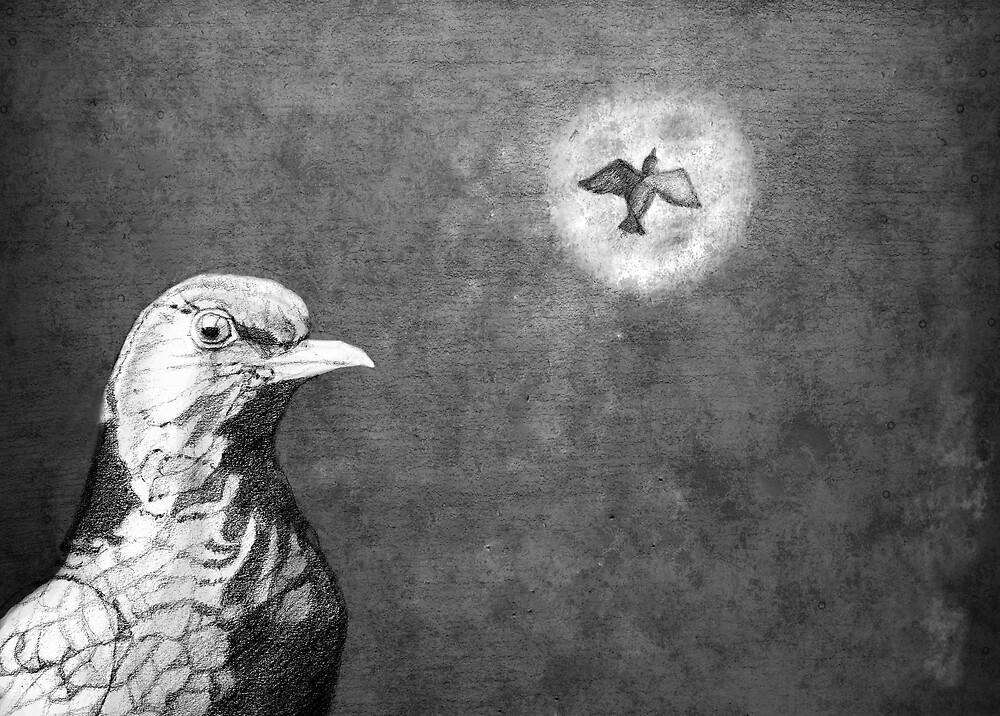Blackbird Fly Into The Light Of The Dark Black Night by Karen Clark