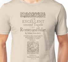 Shakespeare, Romeo and Juliet 1597 Unisex T-Shirt