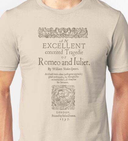 Shakespeare, Romeo and Juliet 1597 Unisex T-Shirt