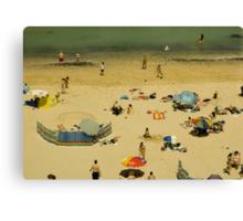 Parasols and Windbreaks : A British Summer Beach Scene Canvas Print