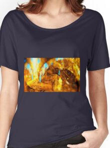 abstract yellow swirl background glossy blue Women's Relaxed Fit T-Shirt