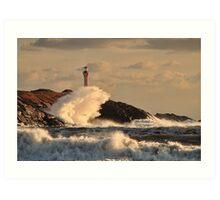 Wave Crashing at Cape Forchu Art Print