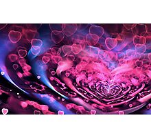 Valentine Hearts Background. Valentines Pink Abstract Wallpaper. Backdrop Collage Photographic Print