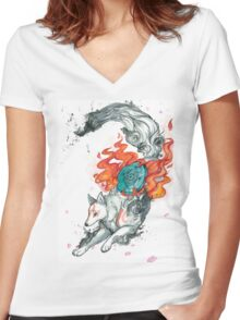 Watercolor Okami Women's Fitted V-Neck T-Shirt
