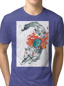 Watercolor Okami Tri-blend T-Shirt