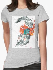 Watercolor Okami Womens Fitted T-Shirt