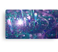 Bokeh abstract violet green techno background with hexagons Canvas Print